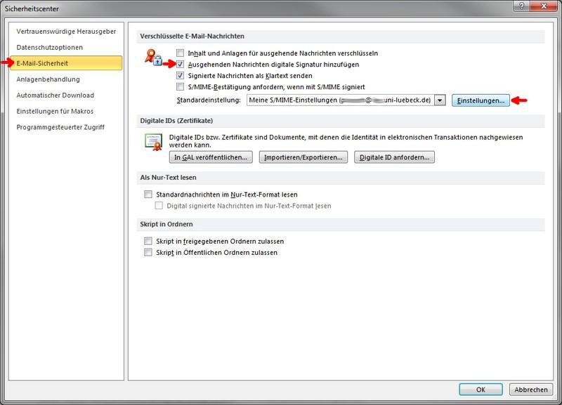 Einbinden von Nutzerzertifikaten in Outlook 2010 unter Windows: ITSC ...