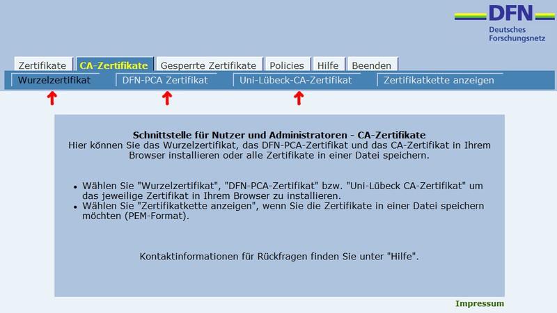 Import von Nutzerzertifikaten unter Windows mit Internet Explorer ...